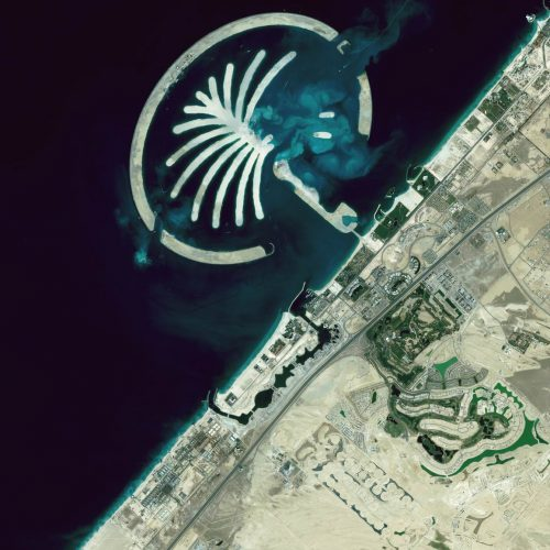 land reclamation under construction with dredging